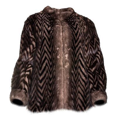 Creeds One Size Brown Striped Mink Fur Jacket