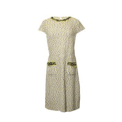 St. John Size 10 Yellow Tweed Dress