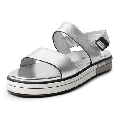 Prada Size 39.5 Silver Sandals