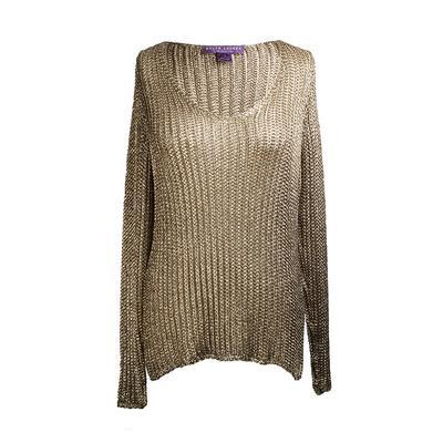 Ralph Lauren Size Large Gold Metallic Mesh Knit Sweater