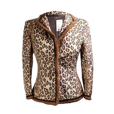 Alexander McQueen Size 40 Leopard Print Fur Trim Collar Jacket