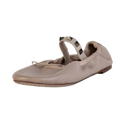 Valentino Size 36 Tan Rockstud Ballerina Flat