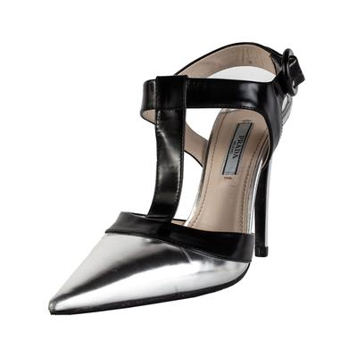 Prada Size 37 Silver Pointy Toe High Heel