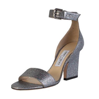 Jimmy Choo Size 37 Glitter Ankle Strap High Heel