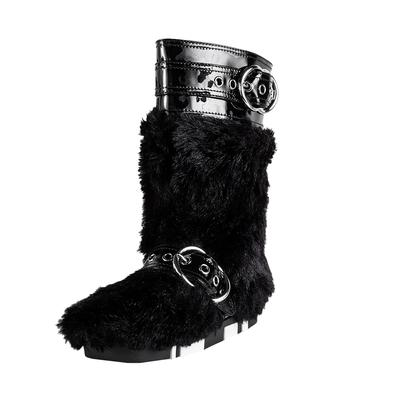 Miu Miu Size 37.5 Black Faux Fur Boots