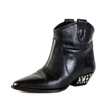 Isabel Marant Size 39 Black Studded Heel Cowboy Boots