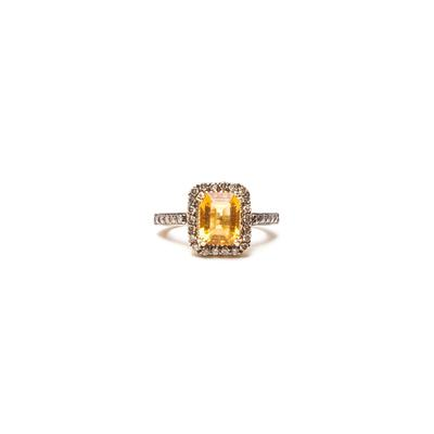 Vintage Le Vian Size 4 14K Nude Diamond Citrine Ring