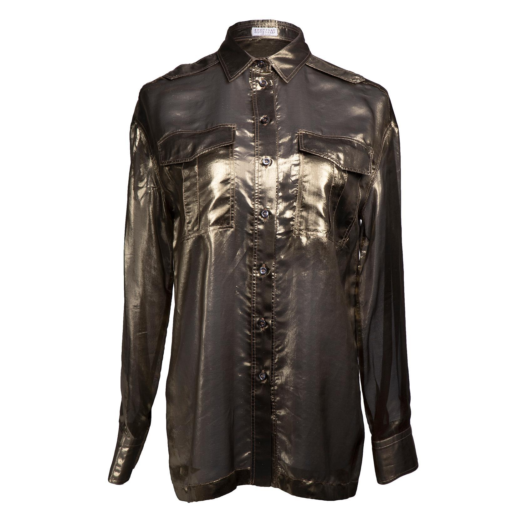 Brunello Cucinelli Size Medium Gold Utility Shirt