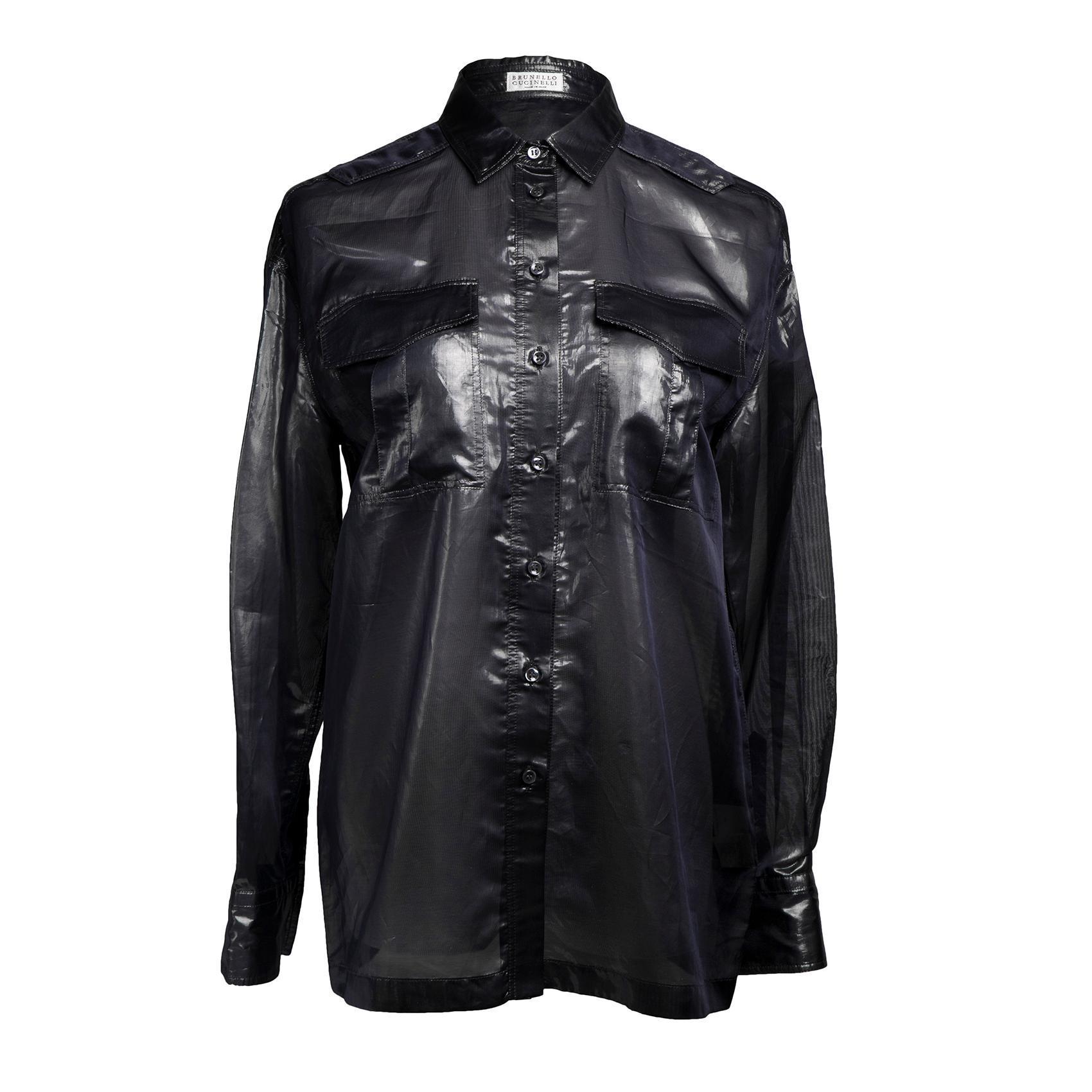 Brunello Cucinelli Size Medium Silver Utility Shirt