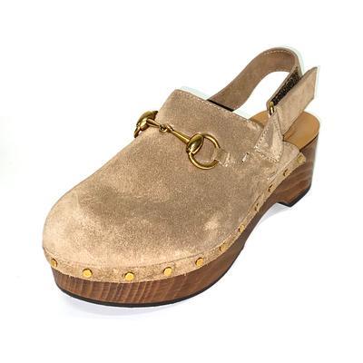 Gucci Size 36.5 Suede Horsebit Clogs