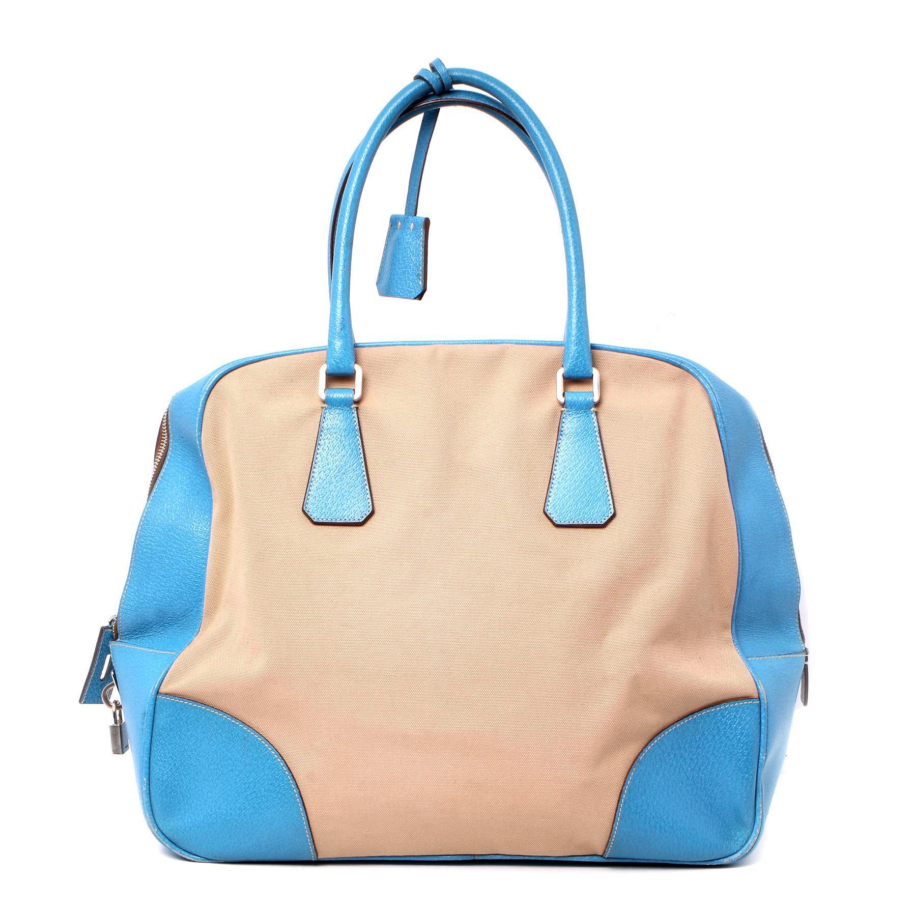 Prada Cinghiale Trimmed Canapa Bag