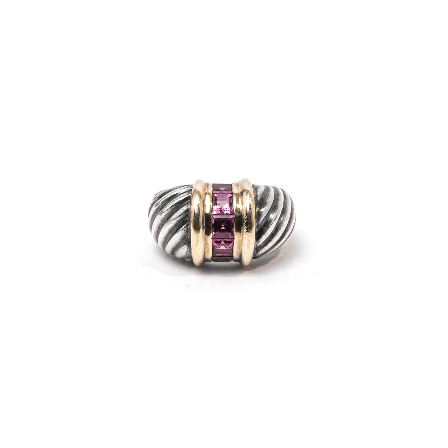 David Yurman Size 4.5 14k Cable Garnet Ring