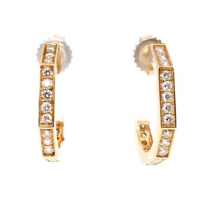 14k & Diamond Octagon Hoop Earrings