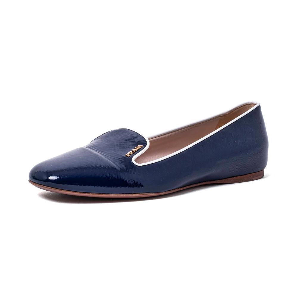 Prada Size 38 Patent Leather Slip On Flats