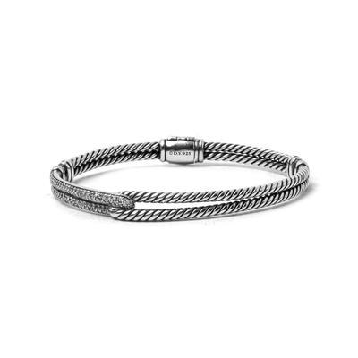David Yurman Sterling Silver Diamond Cable Bracelet