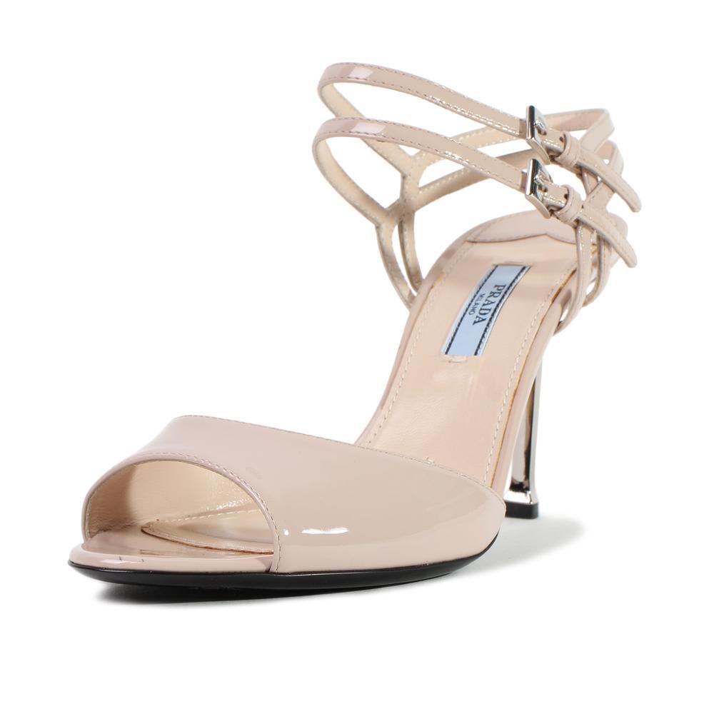Prada Size 38 Patent Leather Metal Heels