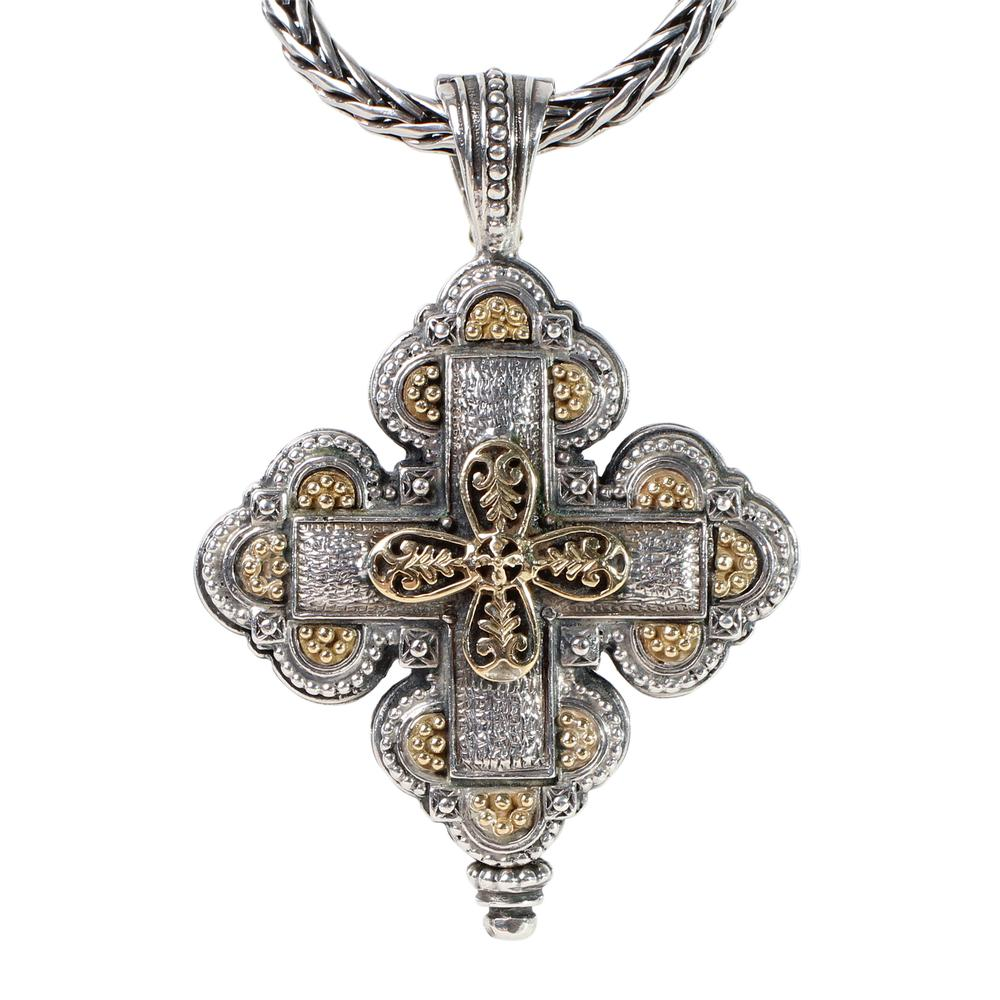 Konstantino 18k Wheat Chain Cross Necklace