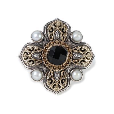 Konstantino Size 8 18K Onyx & Pearl Quatrefoil Ring