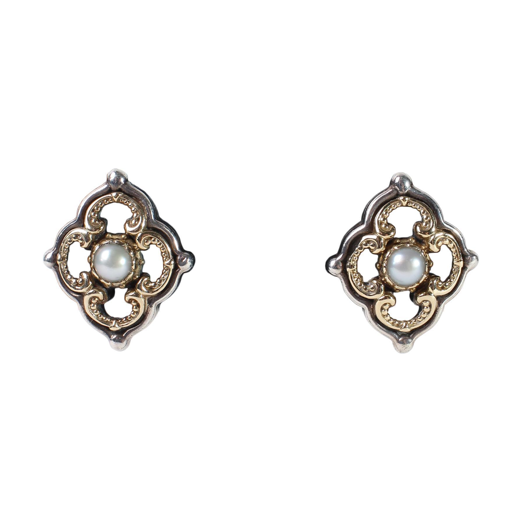 Konstantino 18k Sterling Silver & Pearl Quatrefoil Earrings