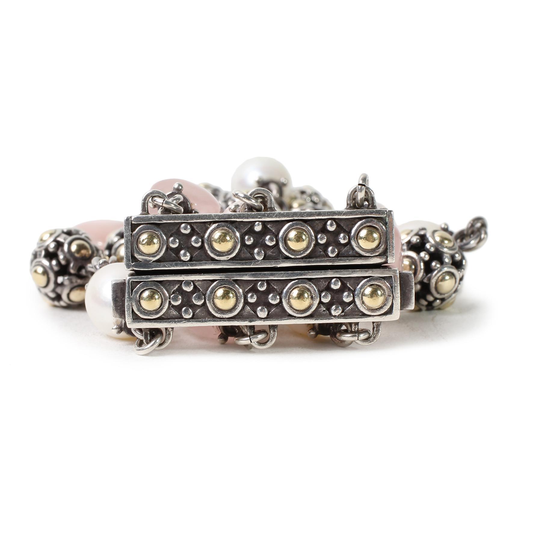 John Hardy 18k Rose Quartz Dot Bracelet