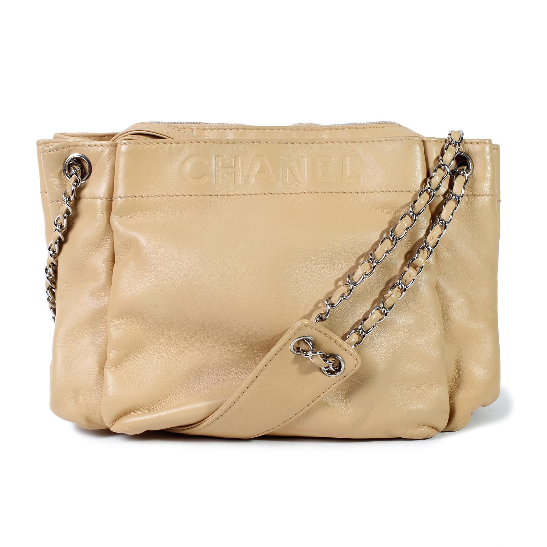 Chanel Logo Embossed Chain Handbag