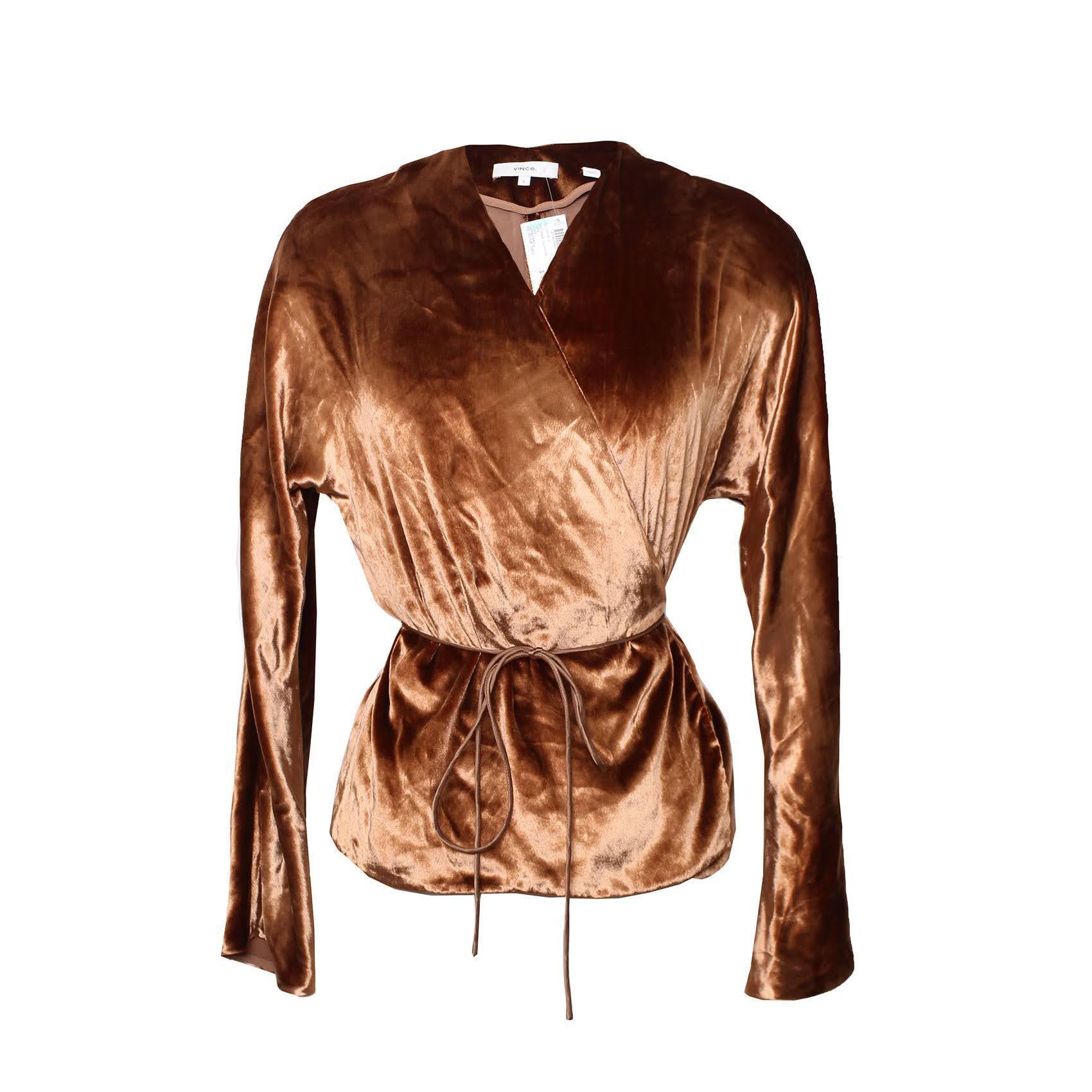 Vince Size Small Copper Velvet Wrap Shirt