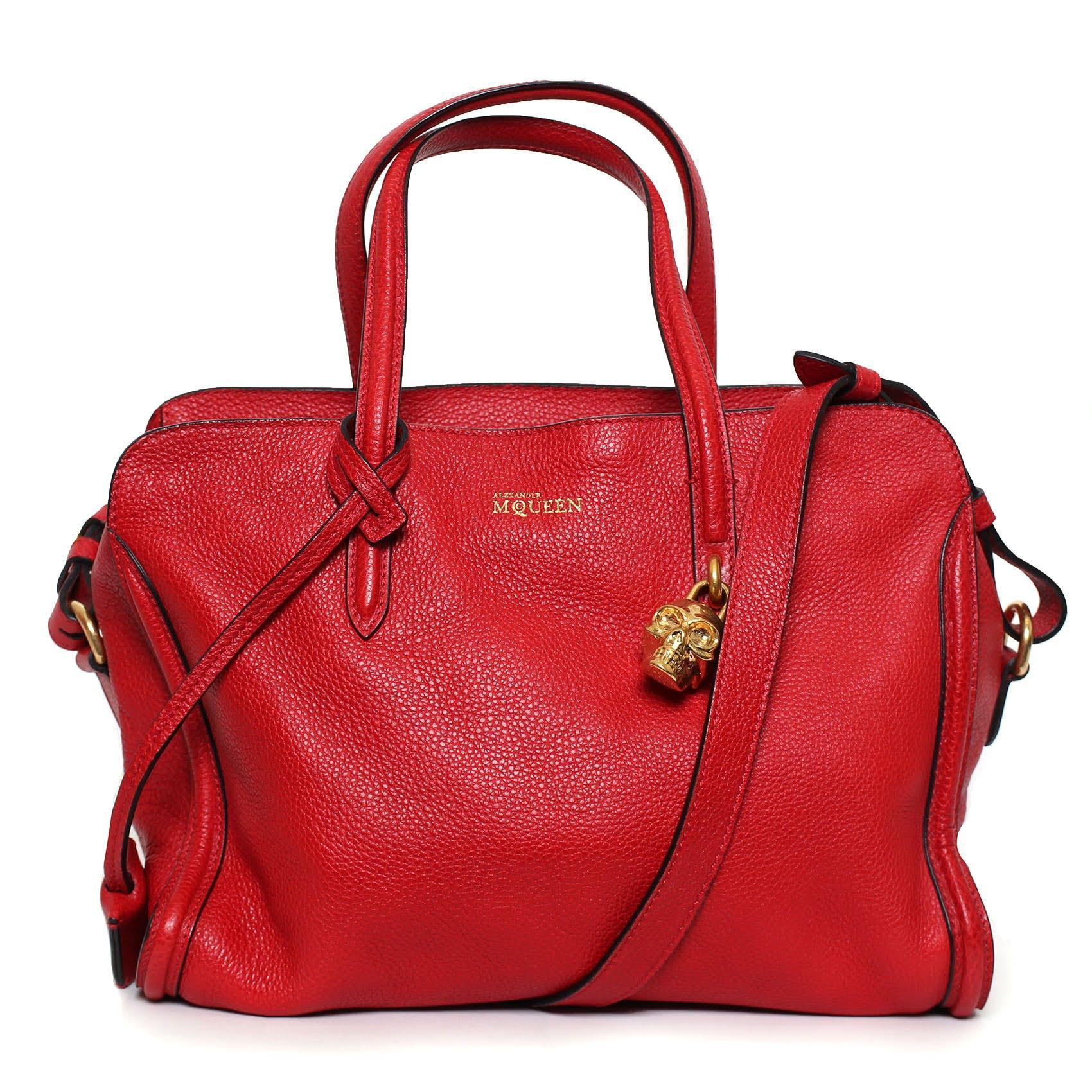 Alexander Mcqueen Red Leather Padlock Shoulder Bag