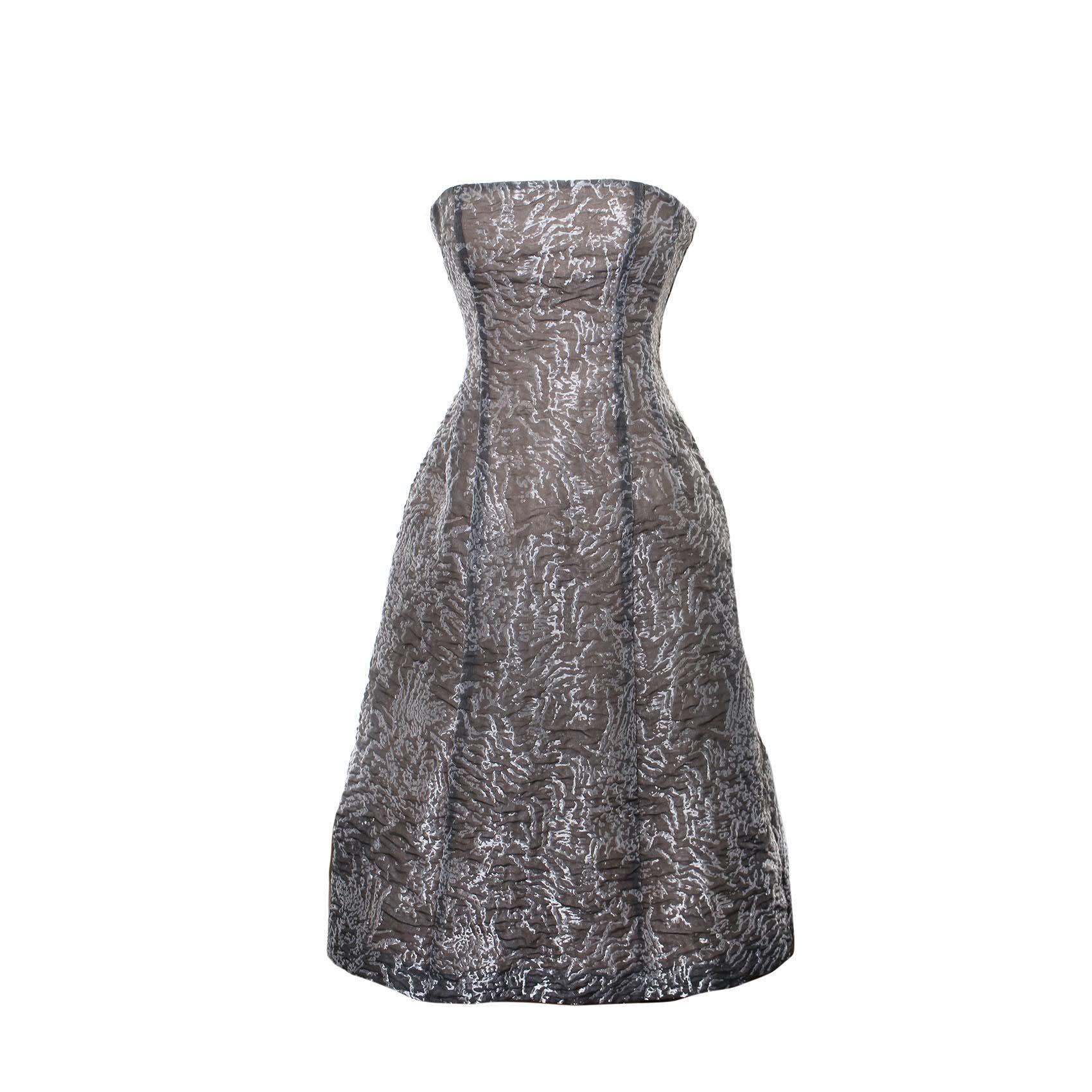 Philosophy Size 40 Grey Strapless Dress