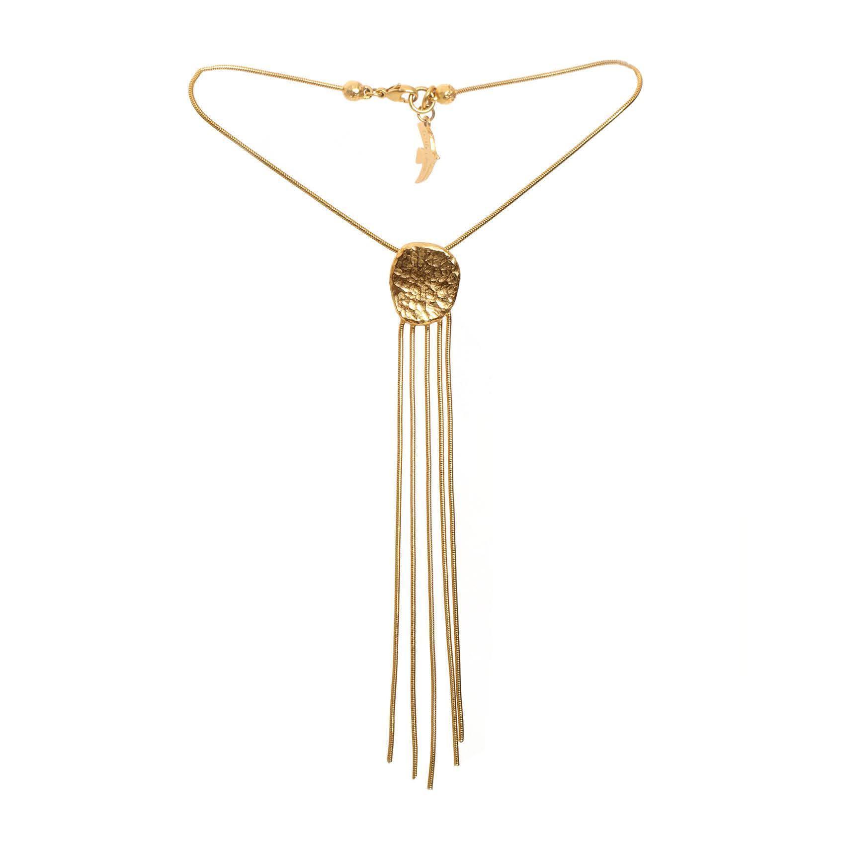 Cecile Jeanne Hammered & Tassel Necklace