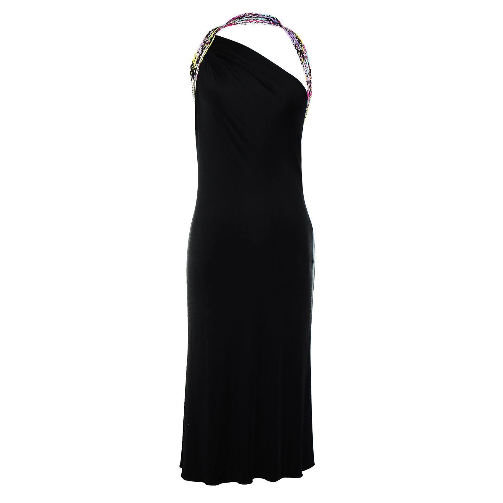 Emilio Pucci Size 40 Black Halter Braided Trim Silk Dress