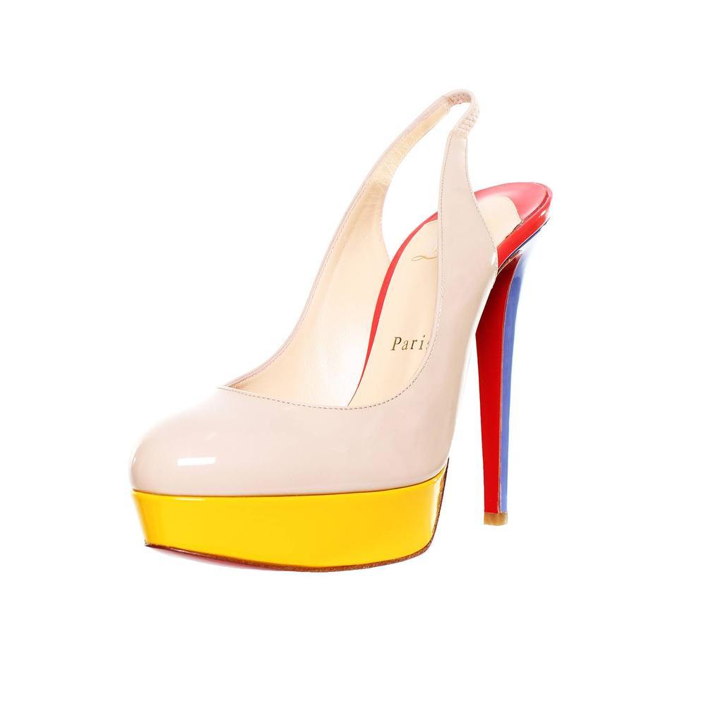 Christian Louboutin Size 6.5 Multi Color Block Patent Leather Heels