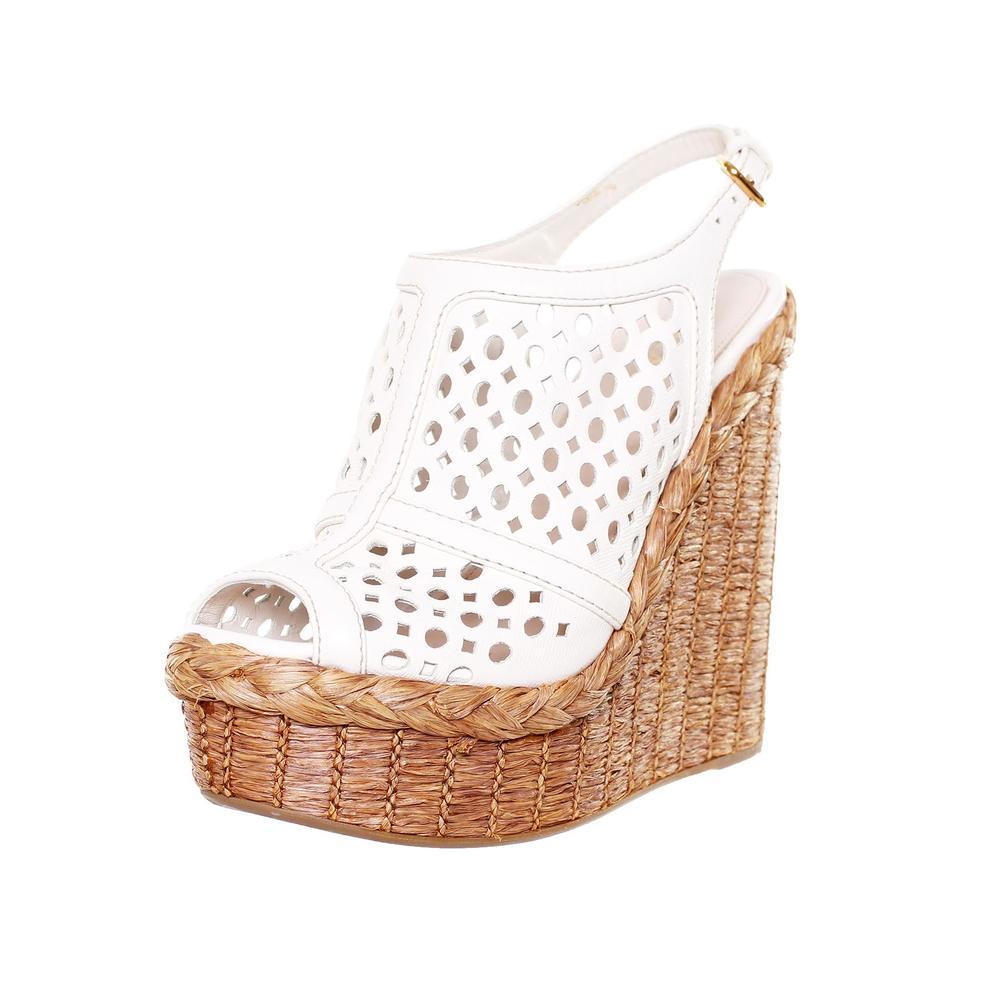 Prada Size 37 White Leather Jute Peep Toe Wedges