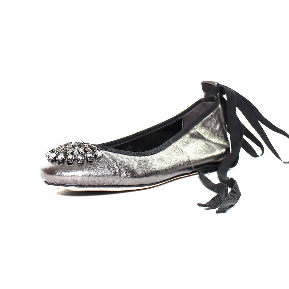 Jimmy Choo Size 38 Silver Satin Jewel Ballet Flats