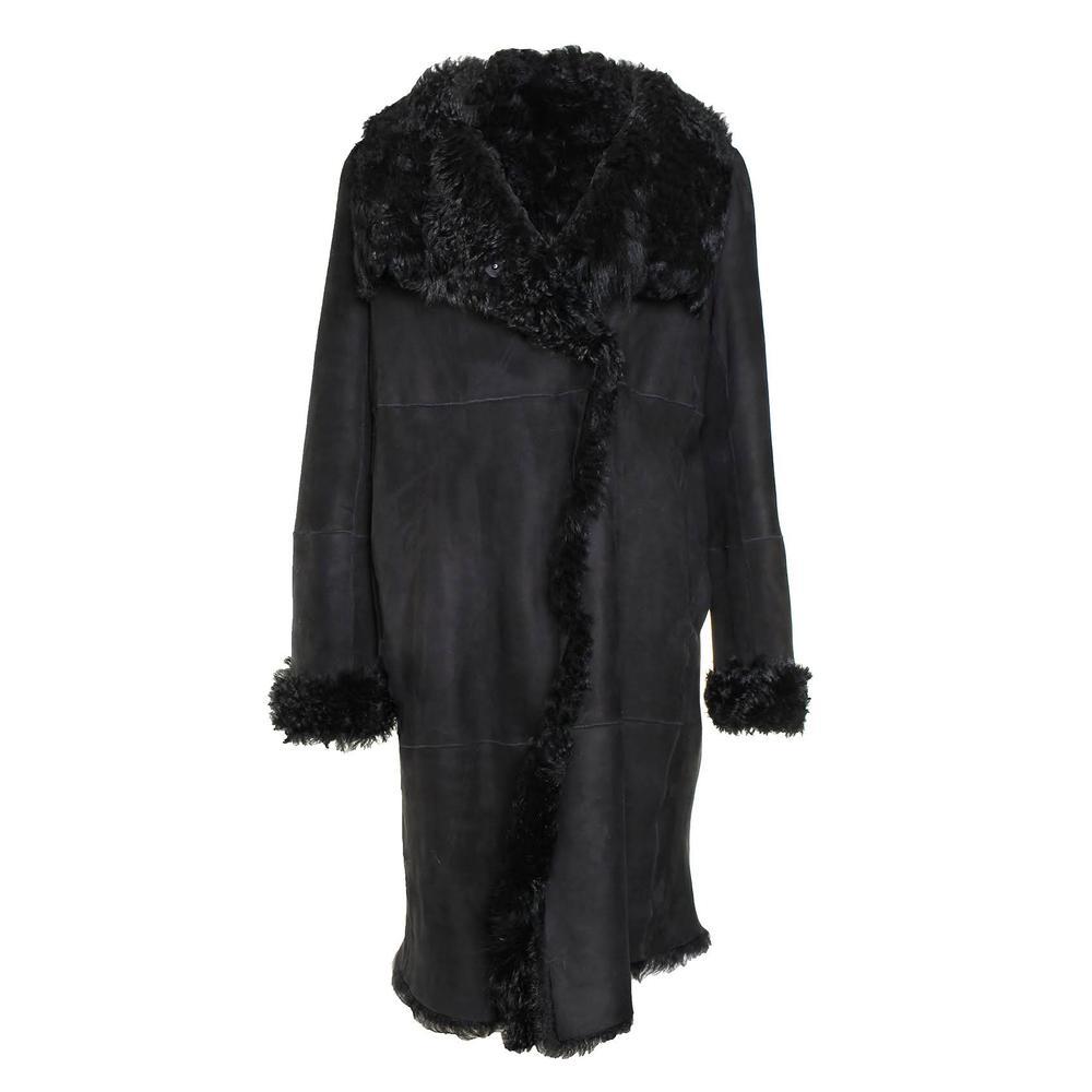 Dkny Size Small Black Shearling Fur Coat