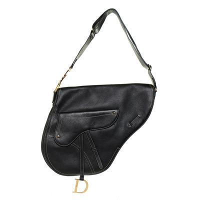 Christian Dior Black XL Saddle Baudrier Handbag