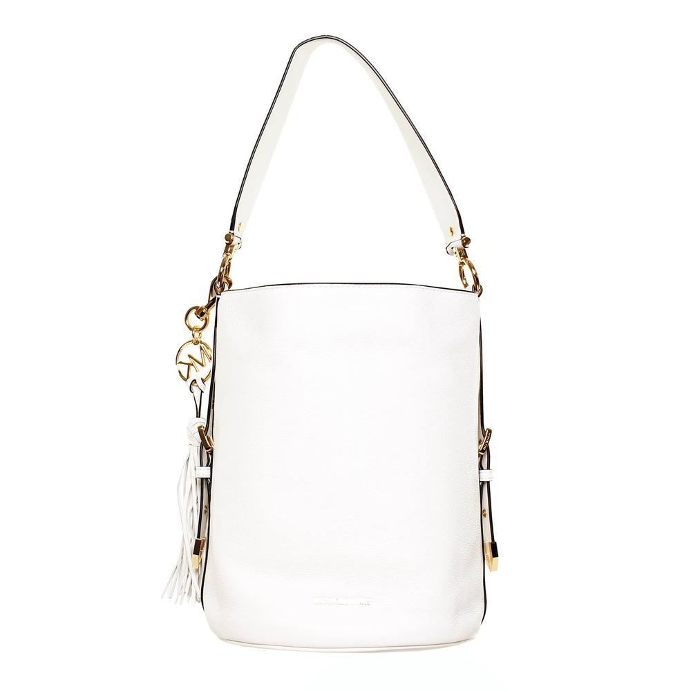 Michael Kors White Pebble Leather Bucket Handbag