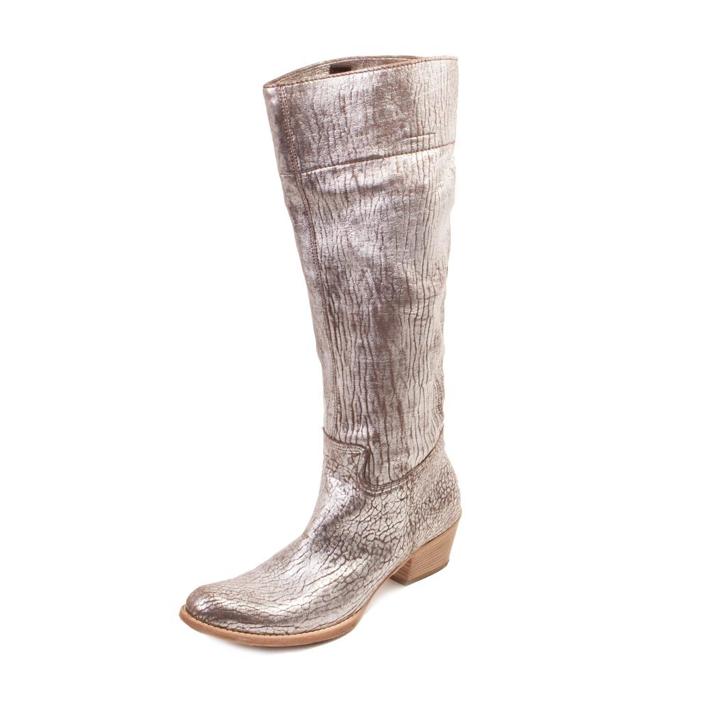 Miu Miu Size 8.5 Metallic Padded Leather Pull On Tall Boots