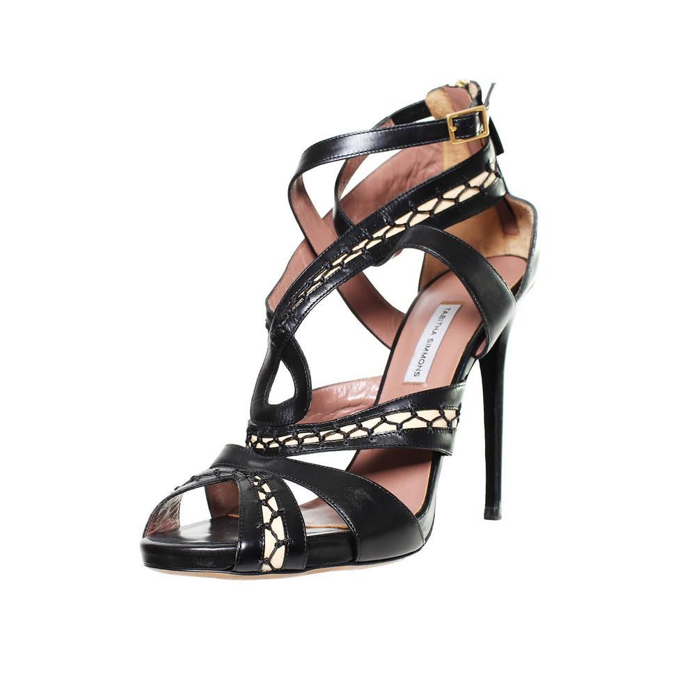 Tabitha Simmons Size 40 Black Cross Strap Stiletto