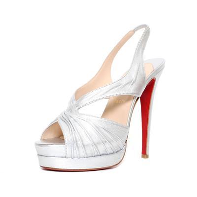 Christian Louboutin Size 39 Silver Slingback Heel