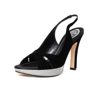Rene Caovilla Size 7 Black Velvet Sling Back Heel