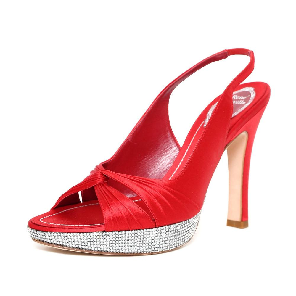 Rene Caovilla Size 7 Black Velvet Slingback Heel