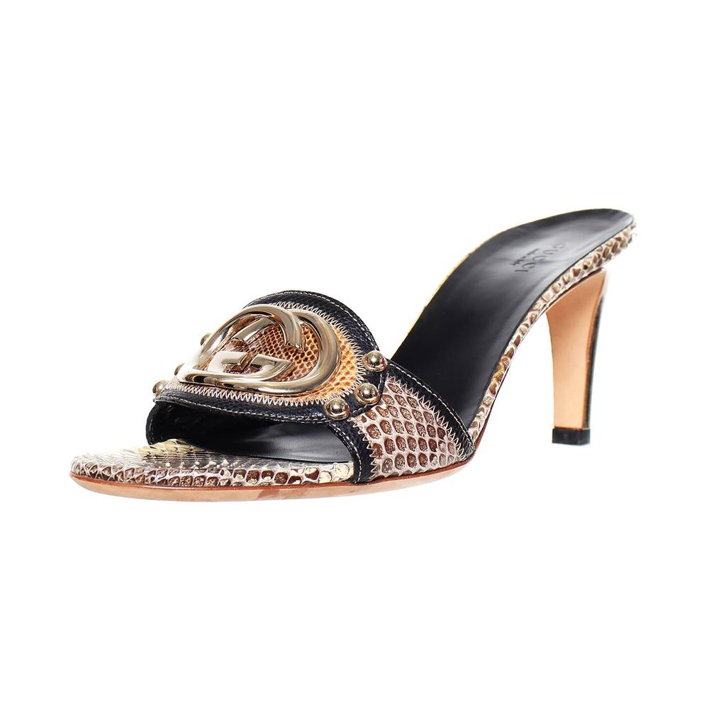 Gucci Size 8.5 Brown Snakeskin Heel Sandals