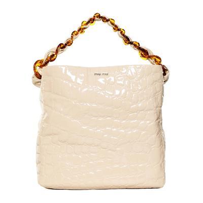 Miu Miu Tan Patent Leather Tote