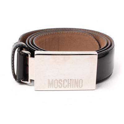Moschino Logo Rectangle Buckle Belt