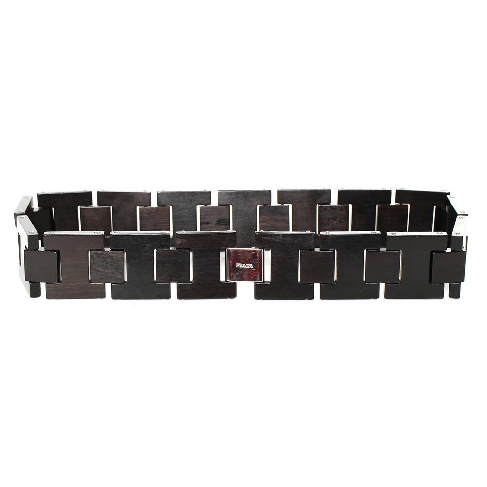Prada Brown Wood Link Belt