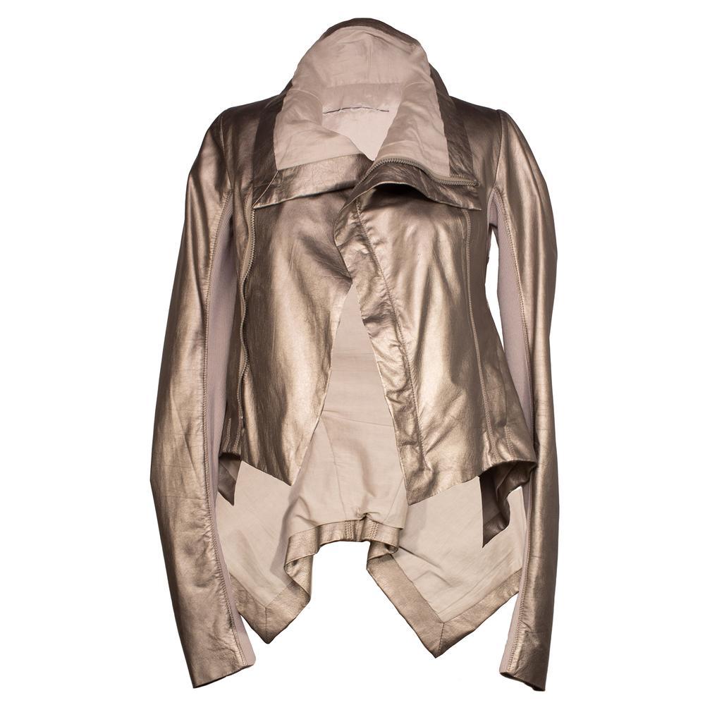 Rick Owens Size 4 Gold Funnel Neck Leather Jacket