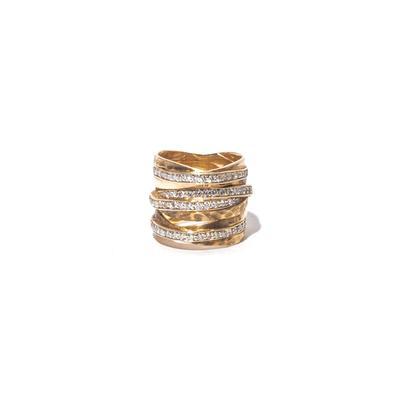 Size 7 14K Stacked Diamond Ring