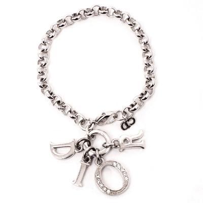 Christian Dior Silvertone Letter Charms Bracelet