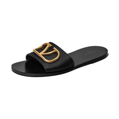 Valentino Size 40.5 Signature Leather Slides