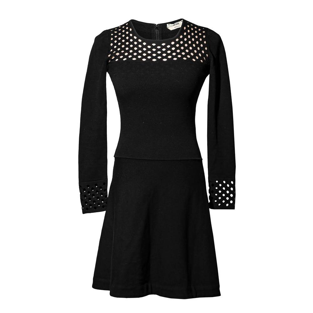 Fendi Size 36 Perforated Long Sleeve Dress